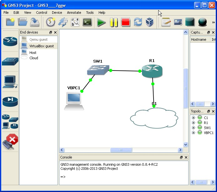 GNS3 lab with vm